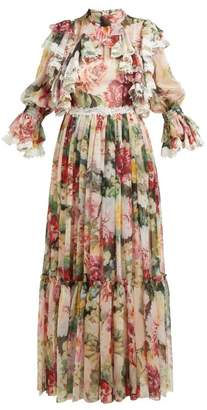 Dolce & Gabbana Floral-print Ruffled Silk-blend Chiffon Gown - Womens - White Multi