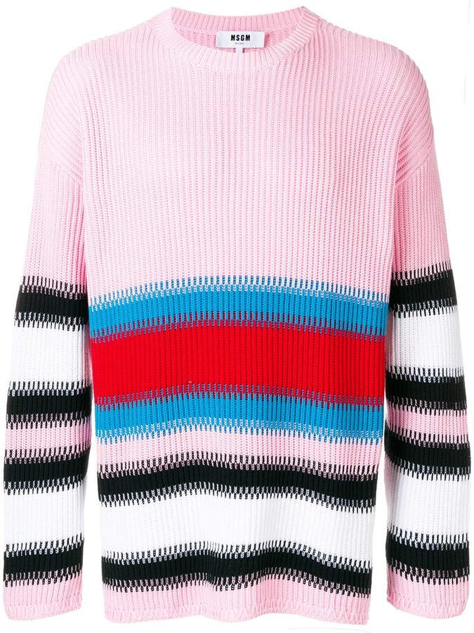 MSGM striped rib knit sweater