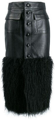 Saint Laurent Faux-Feather Trim Fitted Skirt