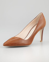 Giorgio Armani Lizard-Embossed Leather Pump, Cognac