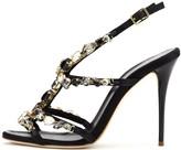 Oscar de la Renta Crystal-Detailed Satin Imogene Sandals