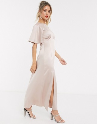 Style Cheat satin flutter sleeve midaxi dress in soft blush