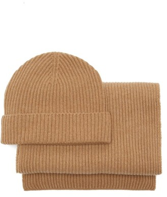 Johnstons of Elgin Ribbed-cashmere Beanie Hat & Scarf - Camel