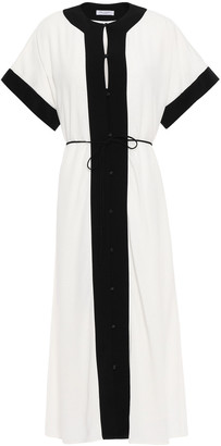 Equipment Claudine Belted Two-tone Crepe Midi Dress