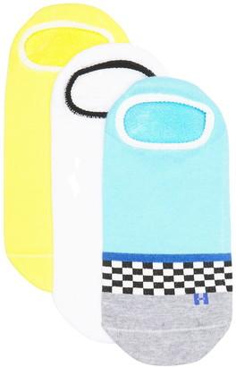 Hue Checkerboard Stripe Liner Socks - Pack of 3