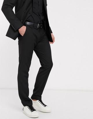 Topman slim suit pants in black