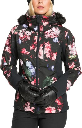 Roxy Jet Ski Waterproof Jacket with Removable Faux Fur Trim