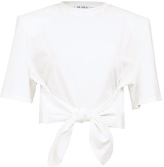 ATTICO Tie-front Cropped Cotton-jersey T-shirt - White