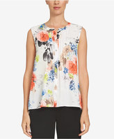 CeCe Floral-Print Pintucked Blouse