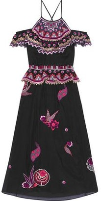 Temperley London Cold-shoulder Embroidered Cotton And Silk-blend Gauze Midi Dress