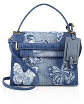 Valentino My Rockstud Small Butterfly-Embroidered Denim Top-Handle Bag