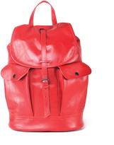 Red leather backpack with two side pockets