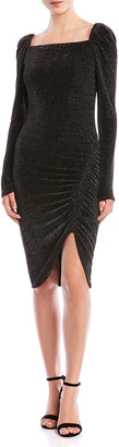 Bailey 44 Ariana Ruched Metallic Square-Neck Dress
