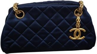 Chanel Bowling Bag Blue Silk Handbags