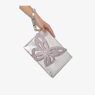 Sophia Webster silver flossy butterfly clutch bag