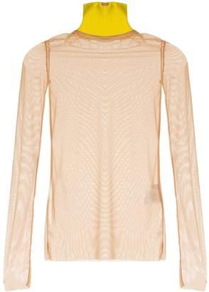 Marios contrast turtleneck mesh sweater
