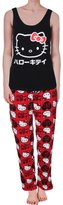 Hello Kitty Womens Juniors Fleece Applique Pajama Set L