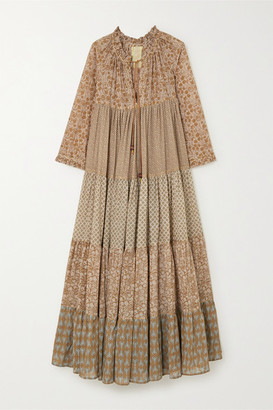 Yvonne S Hippy Tiered Printed Cotton-voile Maxi Dress - Tan