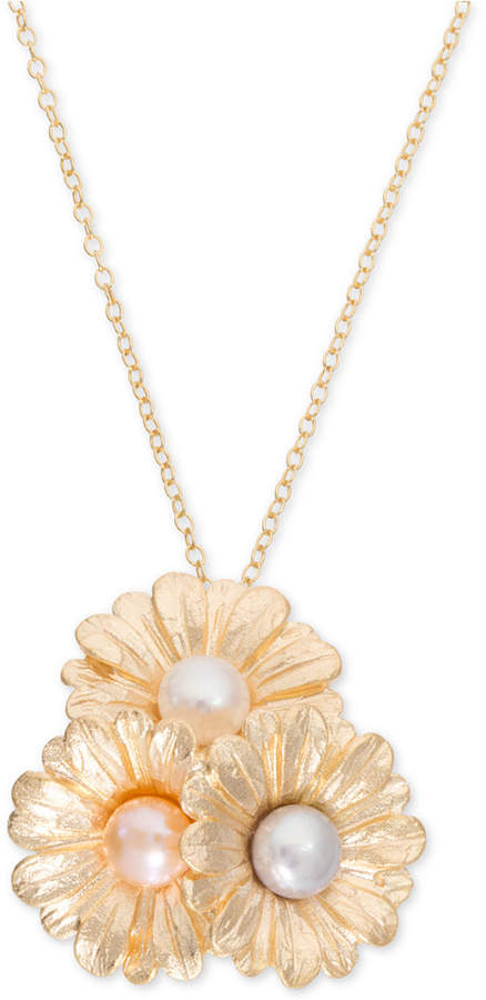 """Giani Bernini Cultured Pearl (6mm) Daisy 18"""" Pendant Necklace in 18k Gold-Plated Sterling Silver, Created for Macy's"""