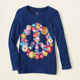 Children's Place Peace floral graphic tee