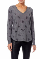Skull Cashmere V Neck Top