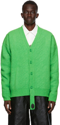 we11done Green Felted Cable Cardigan