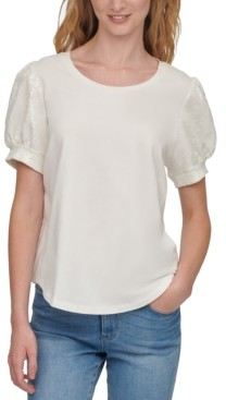 DKNY Sequined Puff-Sleeve Top