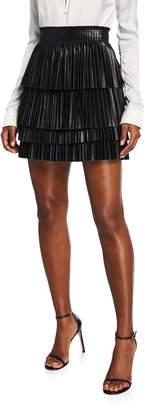 Alexis Briana Pleated Leather Mini Skirt