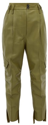 Petar Petrov Hailey High-rise Cropped Leather Trousers - Womens - Khaki