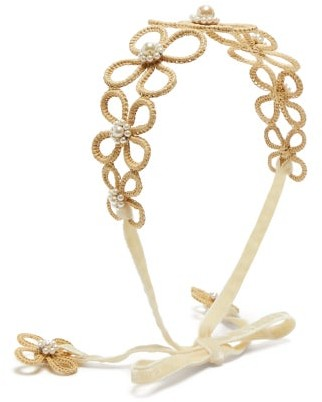 Magnetic Midnight - Pearl-embellished Raffia-flower Headband - White