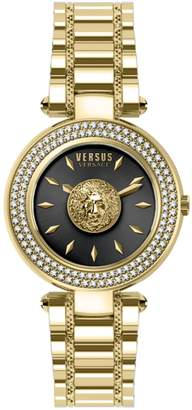 Versace Goldtone Swarovski Crystal Stainless Steel Bracelet Watch