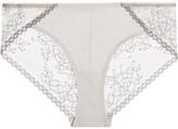 Skin - Gracen Lace And Stretch-pima Cotton-jersey Briefs - Light gray