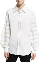 Oscar de la Renta Caged Long-Sleeve Poplin Blouse