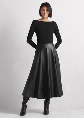 Ralph Lauren Genoveva Knit-Lambskin Day Dress