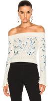 Erdem Bella Embellished Lace Knit Off The Shoulder Sweater in Neutrals,Floral.