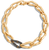 John Hardy Bamboo 23MM Link Necklace in 18K Gold with Black Diamonds