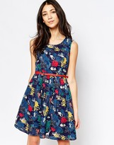 Yumi Floral Skater Dress With Waist Belt