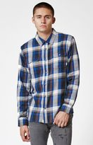 Vans Elm Blue Plaid Flannel Long Sleeve Button Up Shirt