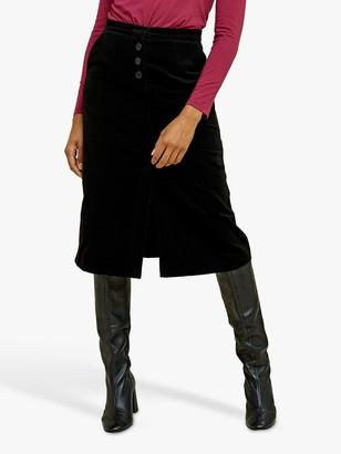 People Tree Rachel Velvet Skirt, Black