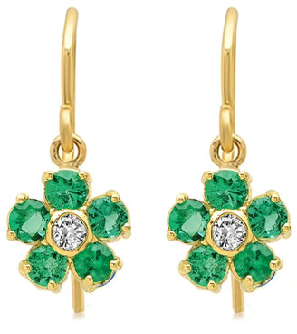 Jennifer Meyer Large Emerald and Diamond Flower Drop Earrings - Yellow Gold