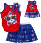Dollie & Me Girls 4-14 Patriotic Ruched Glitter Tank Top & Tutu Skort Set