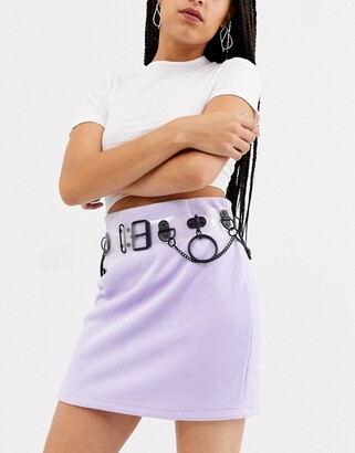 ASOS DESIGN clear & matt black multi ring waist and hip belt