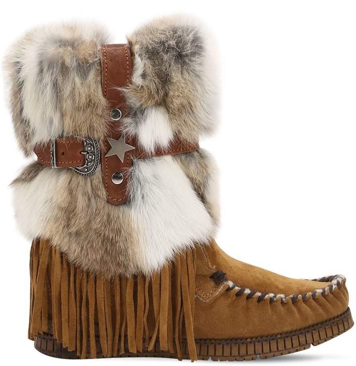 EL VAQUERO 70mm Martha Suede & Rabbit Fur Boots