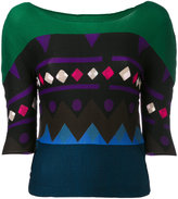 Issey Miyake patterend top - women - Polyester - One Size