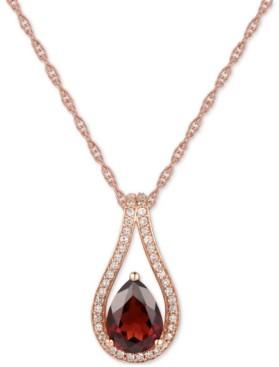 """Macy's Blue Topaz (1-1/4 ct. t.w.) & Diamond (1/6 ct. t.w.) Teardrop 18"""" Pendant Necklace in 14k White Gold (Also in London Blue Topaz & Rhodolite Garnet)"""