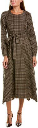 Max Mara Belted Wool-Blend A-Line Dress