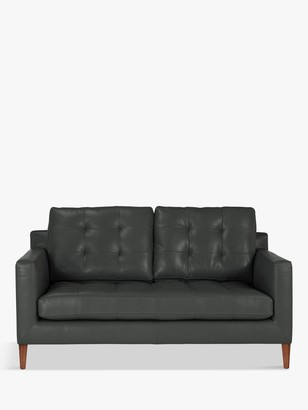 John Lewis & Partners Draper Medium 2 Seater Leather Sofa, Dark Leg
