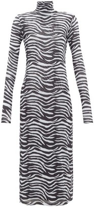 STAUD Zebra-print Metallic-lined Mesh Midi Dress - Womens - White Black