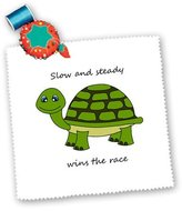 3dRose LLC qs_6106_10 Janna Salak Designs Woodland Creatures - Slow and steady wins the race! Green Turtle - Quilt Squares