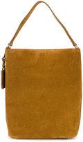 Saint Laurent logo plaque suede shoulder bag - women - Calf Suede - One Size